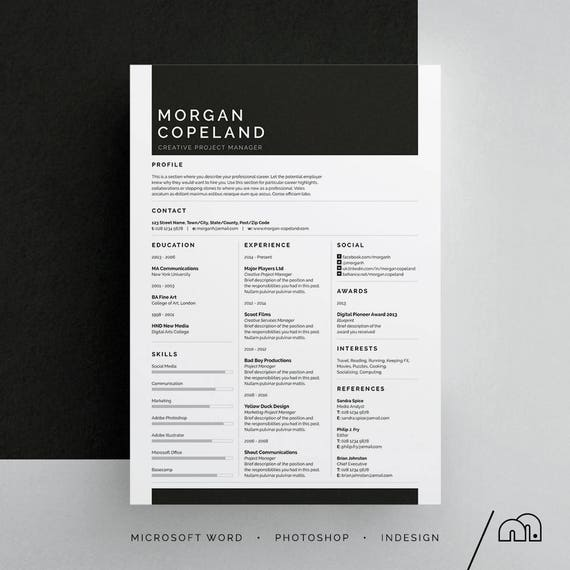 morgan resume  cv template word photoshop indesign