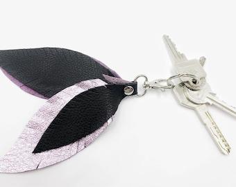 Leather Feather / Feather Keychain / Rosegold Keychain / Bohemian Keychain / Gift for Women / Boho gift / Boho Accessorie / Bubalina