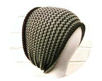 Tube hat, dreadlocks headband wrap, brown olive hair band, winter accessory.