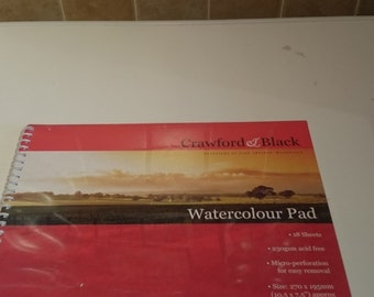 Brand new, still sealed Crawford and Black Watercolour Pad- 18 acid free sheets, 10.5in x 7.5in.