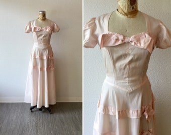 Bernadette 40s dress | Vintage blush taffeta evening  gown | 1940s long pale pink dress