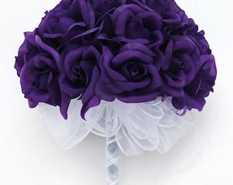 Purple Silk Rose Hand Tie (24 Roses) - Silk Bridal Wedding Bouquet