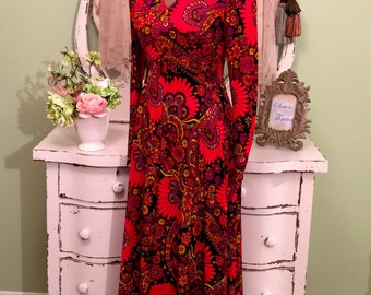 Vintage 70s Red Bohemian Jersey Knit Dress Size S-SM Black & Red Rococo Print Long Sleeve Dress 1970s Hippie Dress