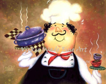 Chef ORIGINAL Oil Painting, 16X16 fat chef painting, chef kitchen art, chef paintings, chefs, funny waiter, restaurant art, Vickie Wade Art