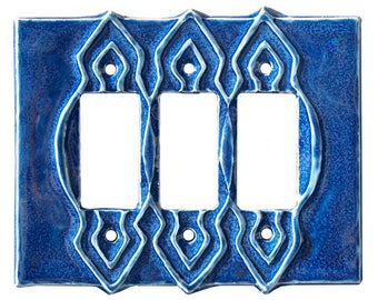Moroccan Ceramic Triple Rocker GFI Light Switch Plate and Outlet Cover in Sapphire Blue Glaze