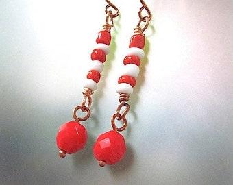 Red & White Candy Stripe Earrings, Long Boho Dangle Shoulder Dusters, Summer Earrings, Fun Funky Beach Earrings Gift for Women or Girls E311