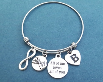 Personalized, Initial, All of me loves all of you, Pinky, Promise, Infinity, Silver, Bangle, Bacelet, Birthday, Valentine, Gift, Jewelry