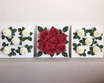 Red and White Rose Canvas