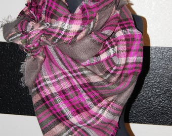 Scripture Scarf - Blanket - Gray, hot pink, light pink, black, and white plaid