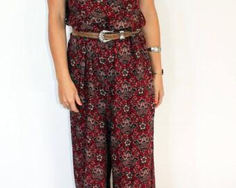 womens indian print wide leg jumpsuit