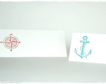 Table card with stamped compass/anchor (6 pcs)