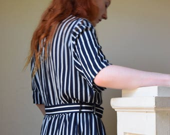 Navy & White Pinstripe Cotton Lounge Dress + SALE  +