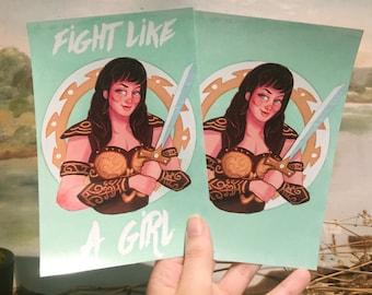 Postcard-Size Prints Xena Warrior Princess Fight Like A Girl SINGLE POSTCARD sized print