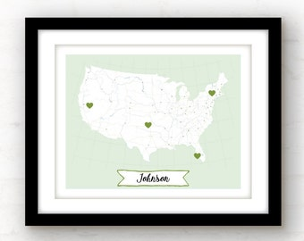 Family name sign | custom map art | personalized art | custom art print | family sign | city map art | last name wall art | name sign