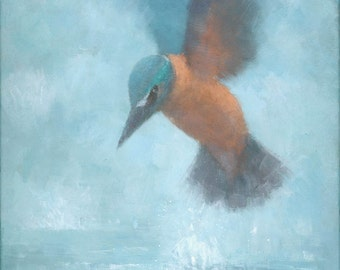 Flame in the Mist, Kingfisher Painting, Signed Giclee Print 15.5x11 inches