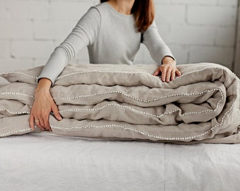 Linen Duvet Cover With Little Pom Poms. 12 Colours. Soft Linen Bedding.  White, Grey, Natural, Rose, Pink, Blue, Woodrose. Queen, King.