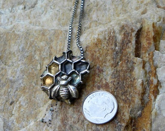 fine silver honey bee on honey comb, totem necklace, 24K gold