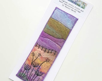 Felted and embroidered collage - original wet felted, free motion and hand embroidered landscape bookmark picture - fiber art bookmark
