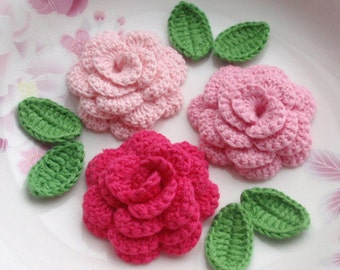 3 Crochet  Flowers (Roses) With Leaves YH - 142-01