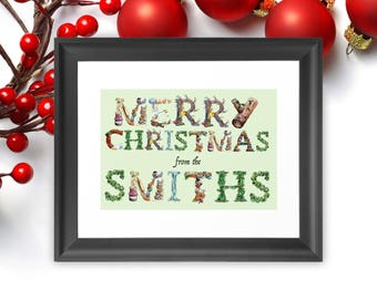 Personalised Family Christmas Sign , Christmas Banner Merry Christmas from Our Family Digital Sign - Family Pictures - Happy Holidays