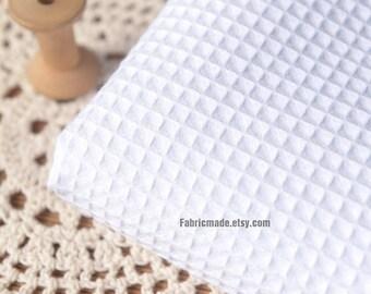 True White WAFFLE Cotton Fabric, Waffle Weave Fabric, Waffle Check Fabric White Cotton- 1/2 yard