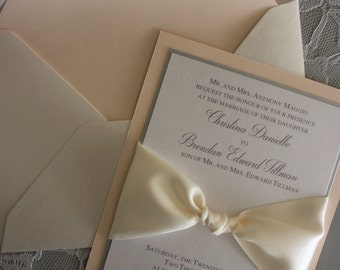 Elegant wedding invitation suite with ivory satin ribbon - blush/silver/pearl metallic cardstock
