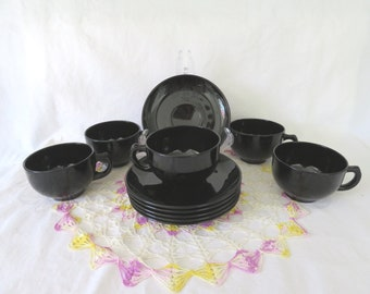 Hazel Atlas Ovide Black Amethyst Cups & Saucers