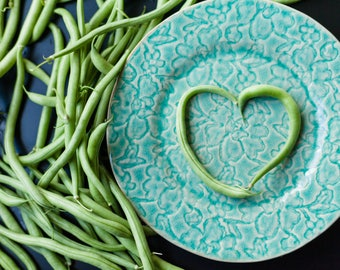 Foodie Gift, Kitchen Decor, Farmhouse Decor, Gift for Mother, Foodie Gifts, Kitchen Art, Food Art, Green Beans, Heart Shapes, Valentines Day