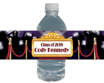Graduation Party Water Labels Red Carpet Hollywood *Waterproof Peel & Stick* Bottle Labels Personalized for you