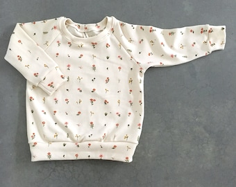 baby girl sweatshirt 6-12m , organic baby sweater floral top, baby girl jumper, baby crewneck, baby girl winter clothes,