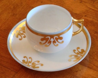 A K (France) Hand-Painted Small Teacup and Saucer Set