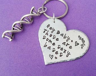 science valentine, science gift, nerdy valentine, science jewelry, science keyring, dna keyring, chemistry valentine, geek valentine, geek