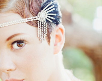 Lucky Stars, Rhinestone and Feather Headpiece
