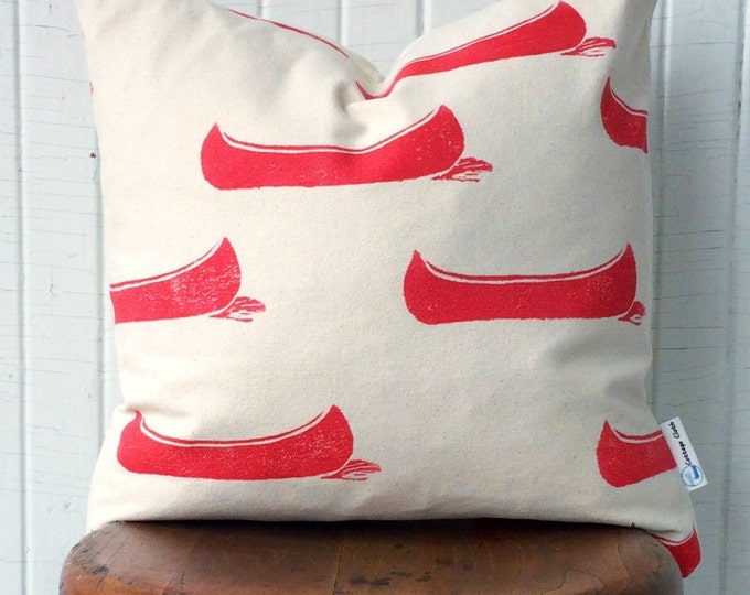 organic canvas pillow cover - drifting canoes in bright red