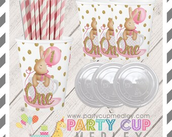 1st Birthday Party Cups-Pink and Gold Party Popcorn Cups-Set of 8