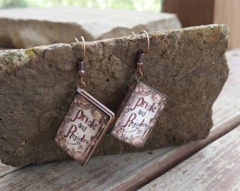 Pride and Prejudice Jane Austen Classic Novel Miniature Book Charm Earrings - Gifts for Girls - Book Lover - Teacher jewelry