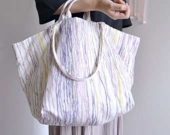 Large tote bag. Simple purple and mustard water lines print market tote. Style 140P. Ready to ship