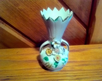 SALE**VINTAGE Miniature Bique Porcelain Vase Floral 4 inches tall **25% off original price**