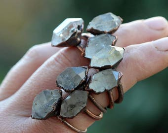 Crystal Ring - Electroformed Ring - Chunky Crystal Ring - Mineral Jewelry - Raw Quartz Ring