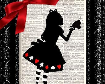 Alice In Wonderland Tea Cup - - Vintage Dictionary Print Vintage Book Print Page Art Upcycled Vintage Book Art