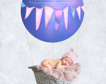 Balloon basket  girl pink newborn backdrop background photoshoot photography 18x18inches 300dpi