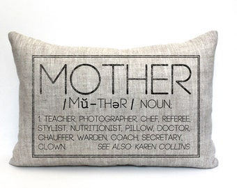 "mother's day gift, mothers day gift, mom pillow, gift for mom, grandparent gift, new parents pillow, valentine gift - ""The Mother"""