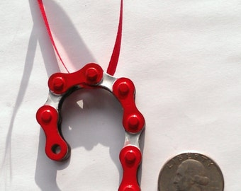 Bicycle Ornament. Candy Cane. Hand Made From Recycled Bicycle Chain. Free Shipping!!