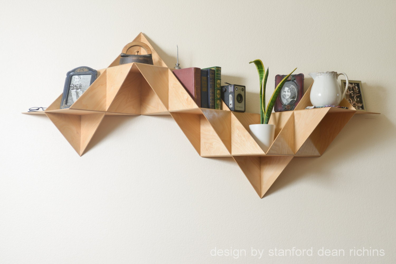 Danish modern inspired modular triangular birch wood wall description beautiful wood shelf jeuxipadfo Choice Image