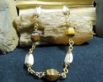 Tiger Eye Freshwater Pearls Beaded 24 inch Raw Brass Necklace