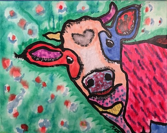 """colorful cow painting 8""""x10"""""""