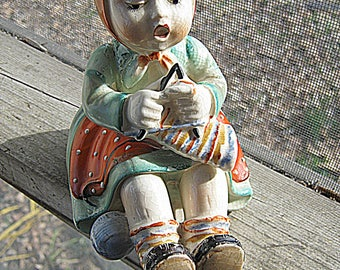 Little Girl Figurine, Vintage Ceramic Knitting Girl, 5 1/2 Inches Tall, 5 Inches Long, 4 Inches Wide, Some Crazing From Age