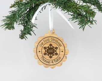 Our First Christmas, Wood Ornament, First Christmas Ornament, Personalized Christmas Ornament, Custom Ornament, Snowflake --24108-OR03-008