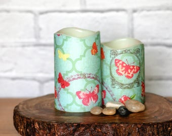 Mothers Birthday Flameless Candle Gift Set, Butterfly Print Home Decor, Flameless LED Pillar Candles, Pink Butterfly Candle Gift