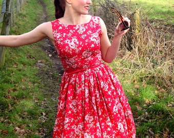 1950s style garden party dress in a variety of colours